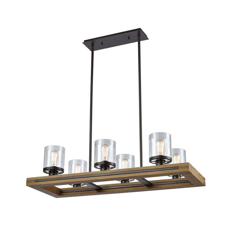 Meti Wood & Glass Pendant Light, 6 Light