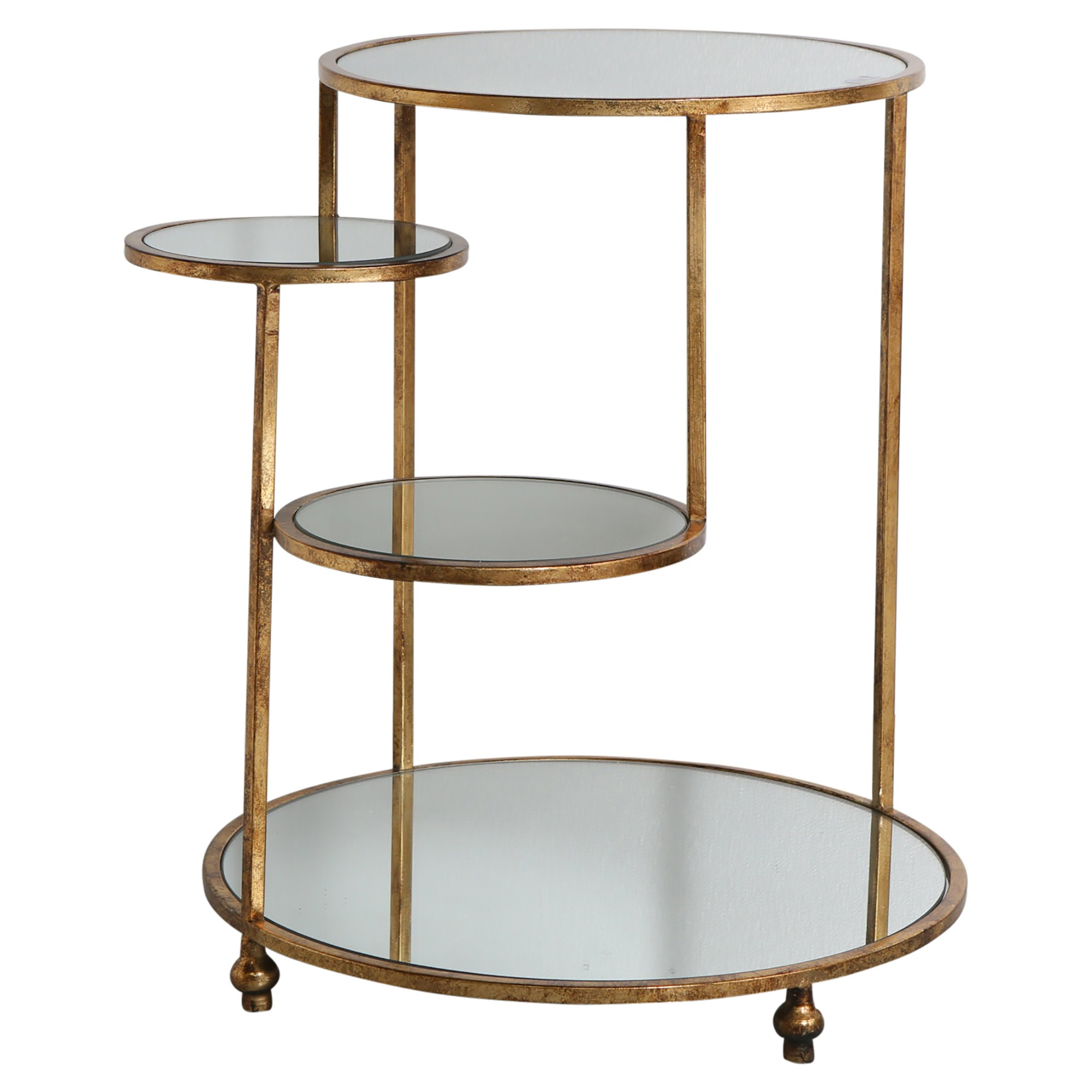 Leslie Mirror Topped Iron Side Table