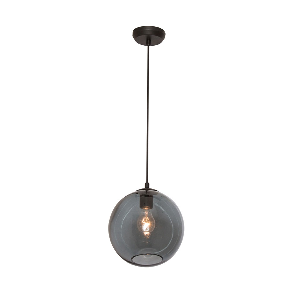 Milan Glass Pendant Light, 1 Light, Black