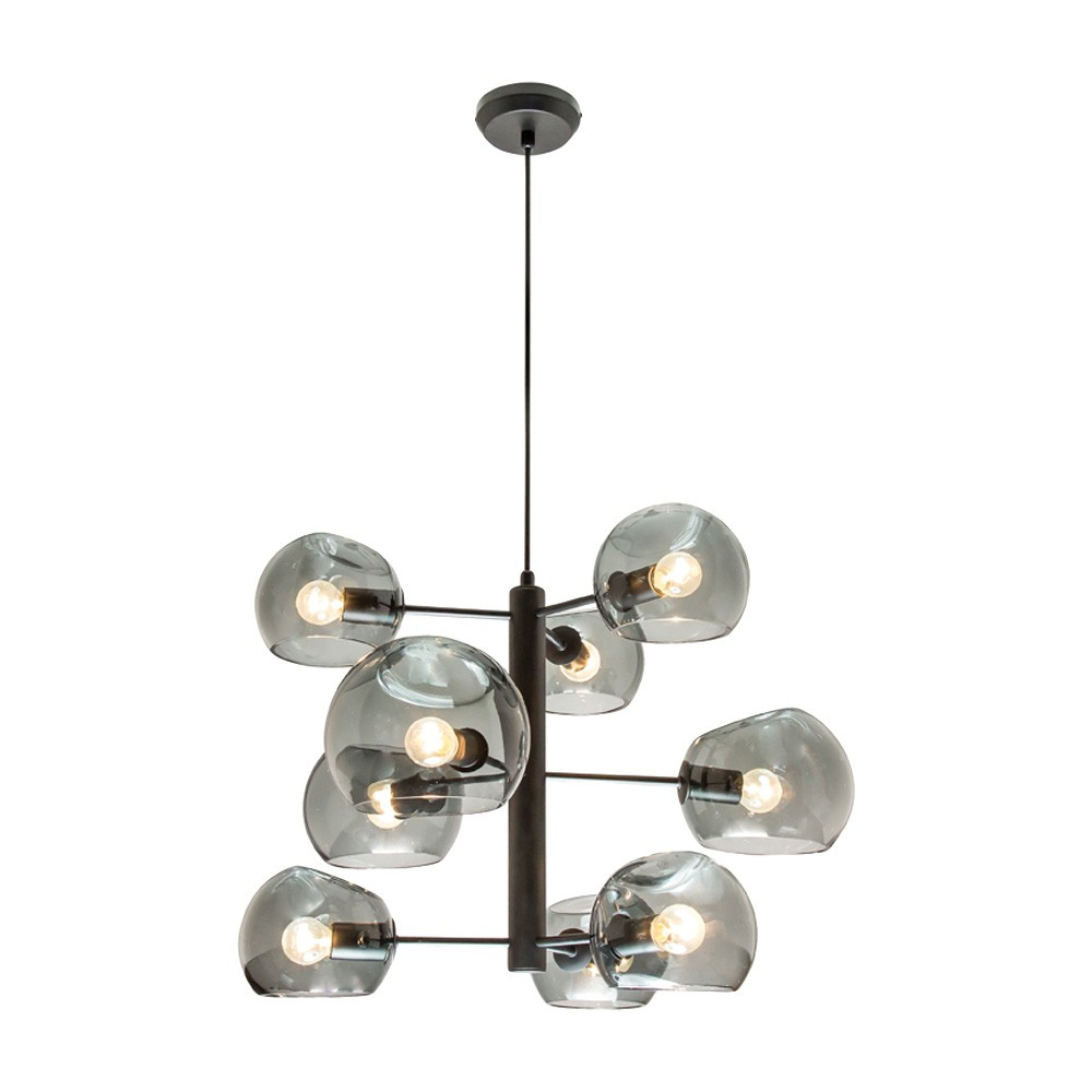 Milan Glass Pendant Light, 9 Light, Black