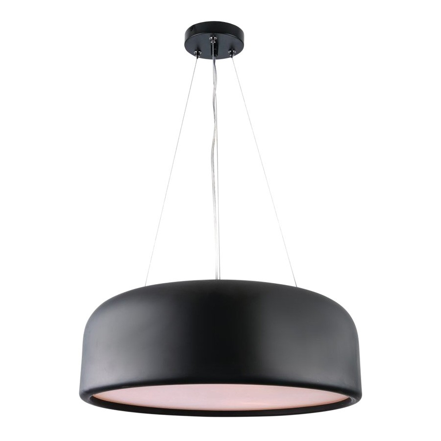Porto Metal Round Pendant Light, Large, Black