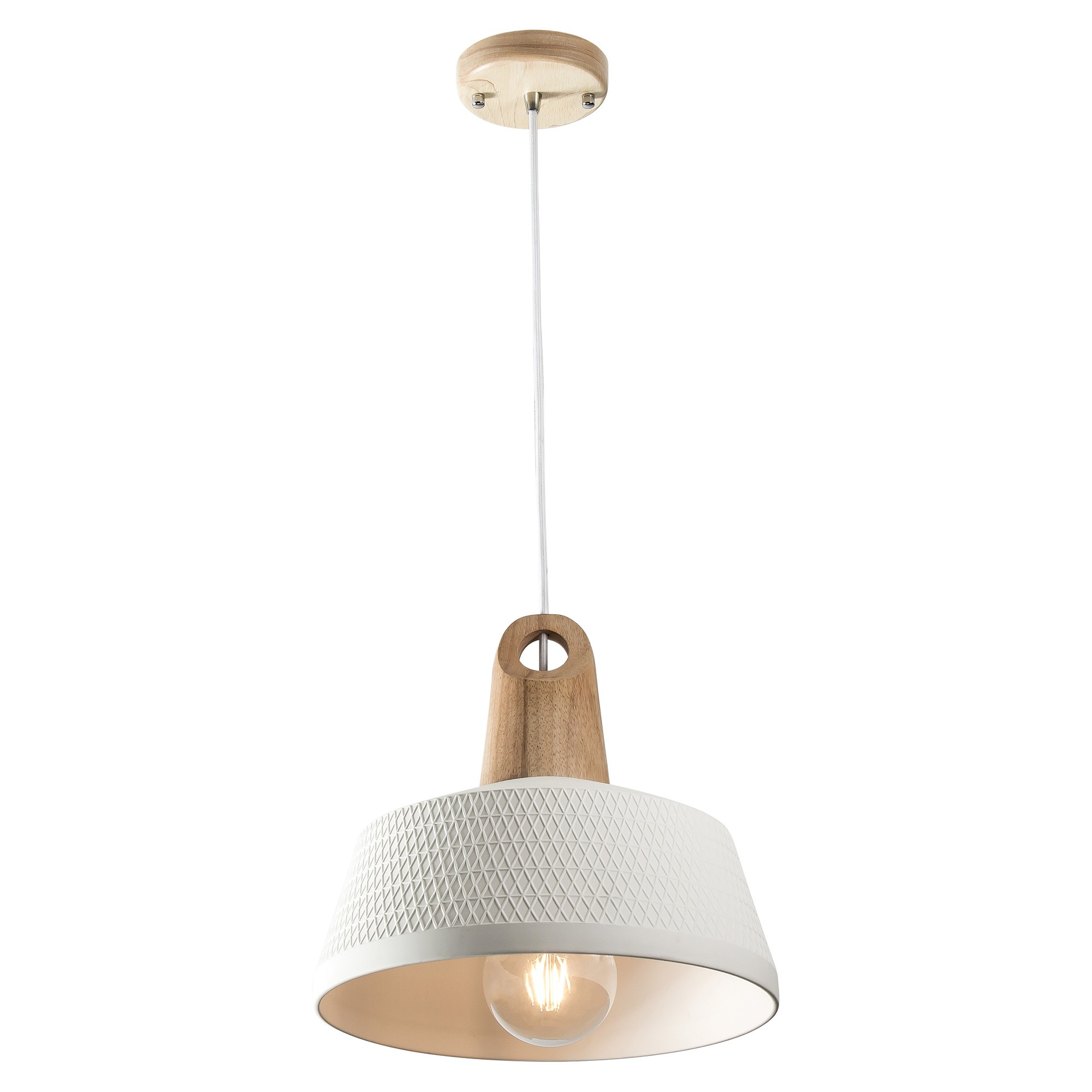 Morrissey Ceramic & Oak Timber Pendant Light, Wide