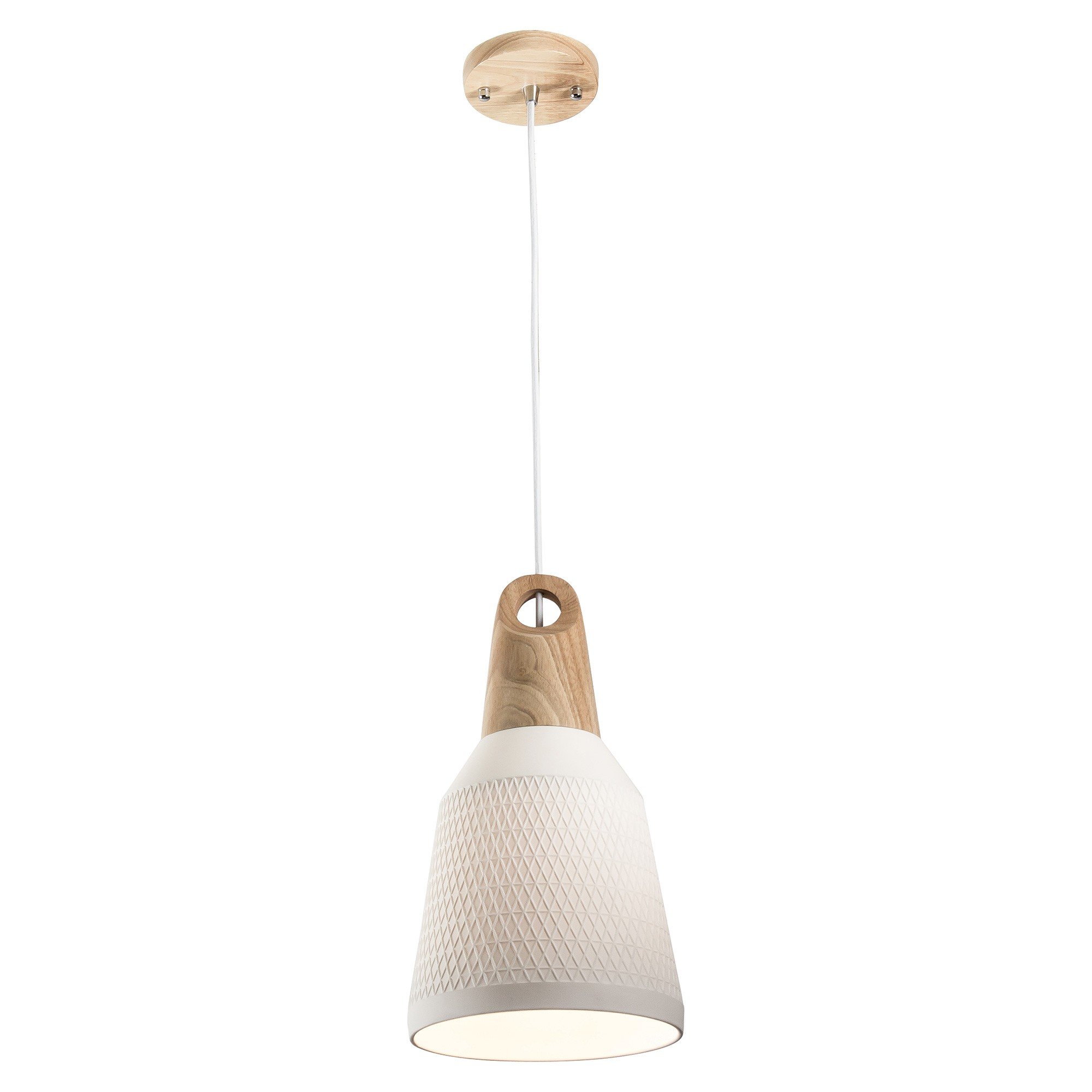 Morrissey Ceramic & Oak Timber Pendant Light, Slim