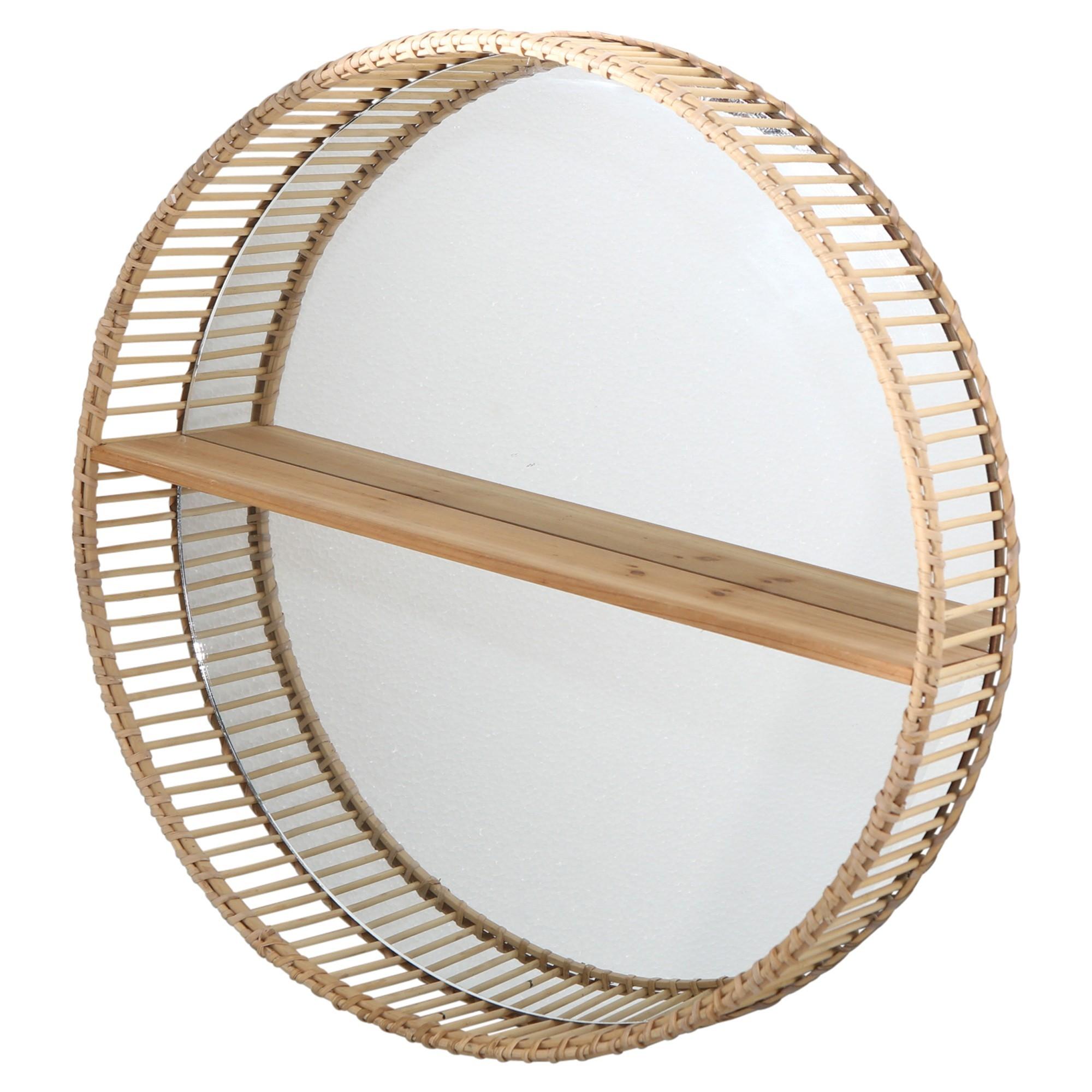 Gary Bamboo Rattan Round Wall Mirror with Shelf, 60cm