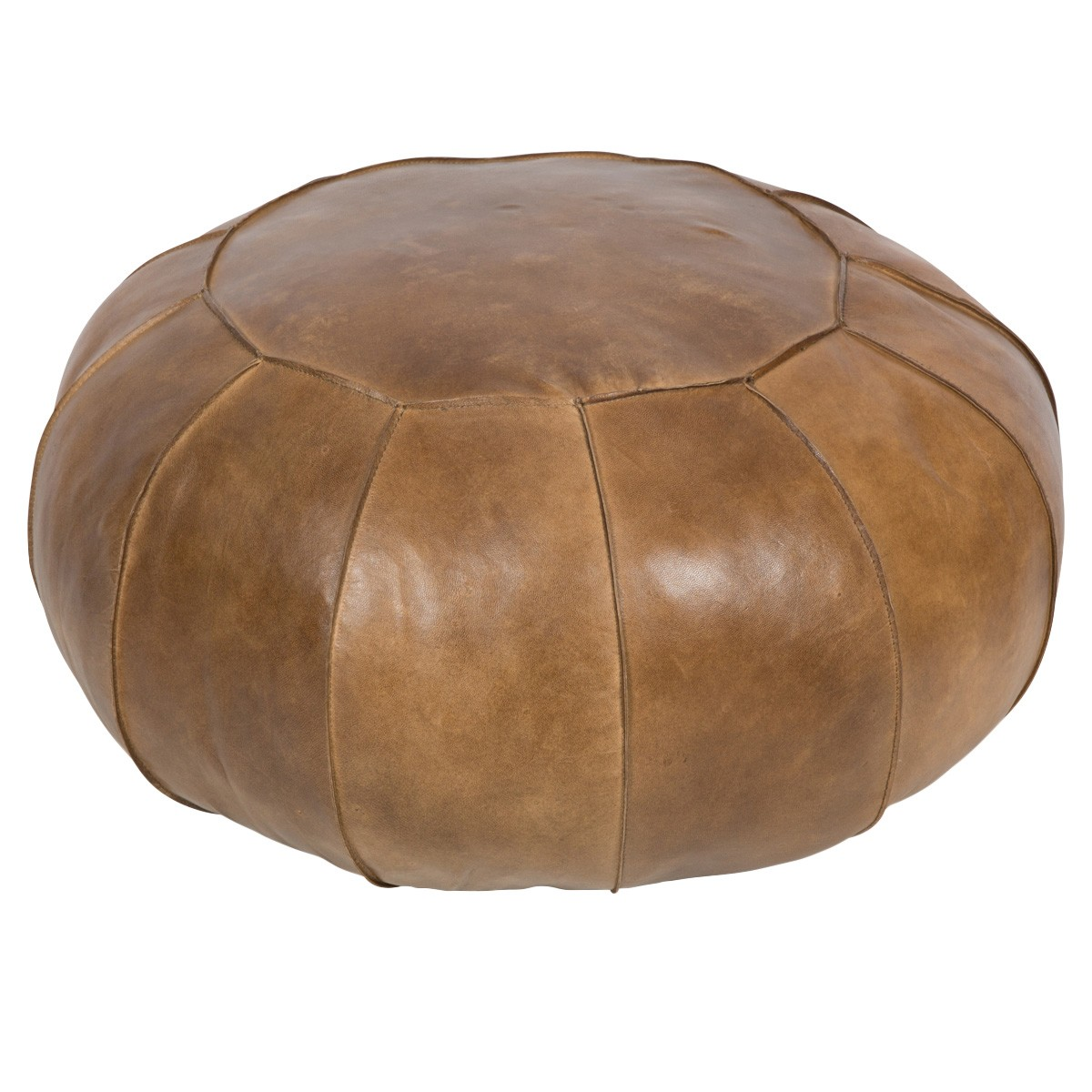 Denver Leather Round Pouffe