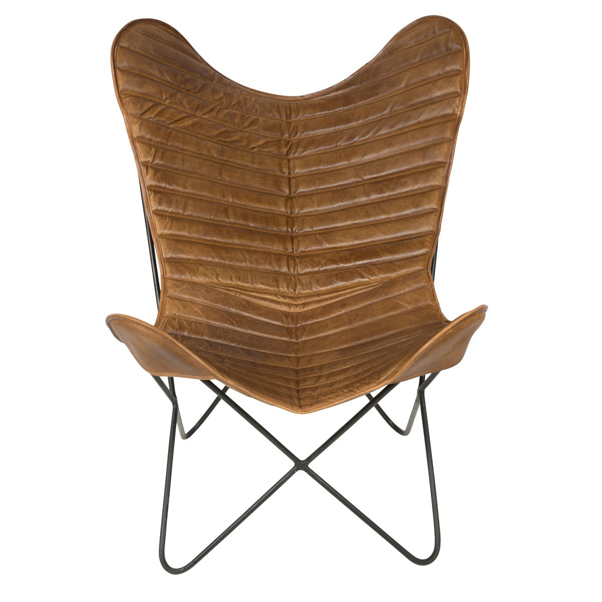 Capri Leather Butterfly Chair, Tan