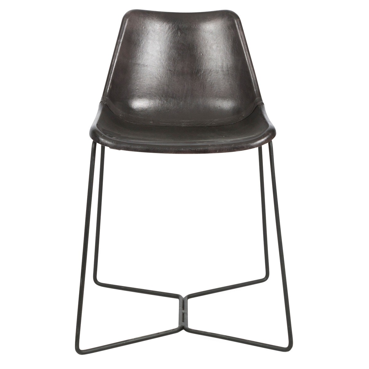 Elm Leather Dining Chair with Iron Legs, Black