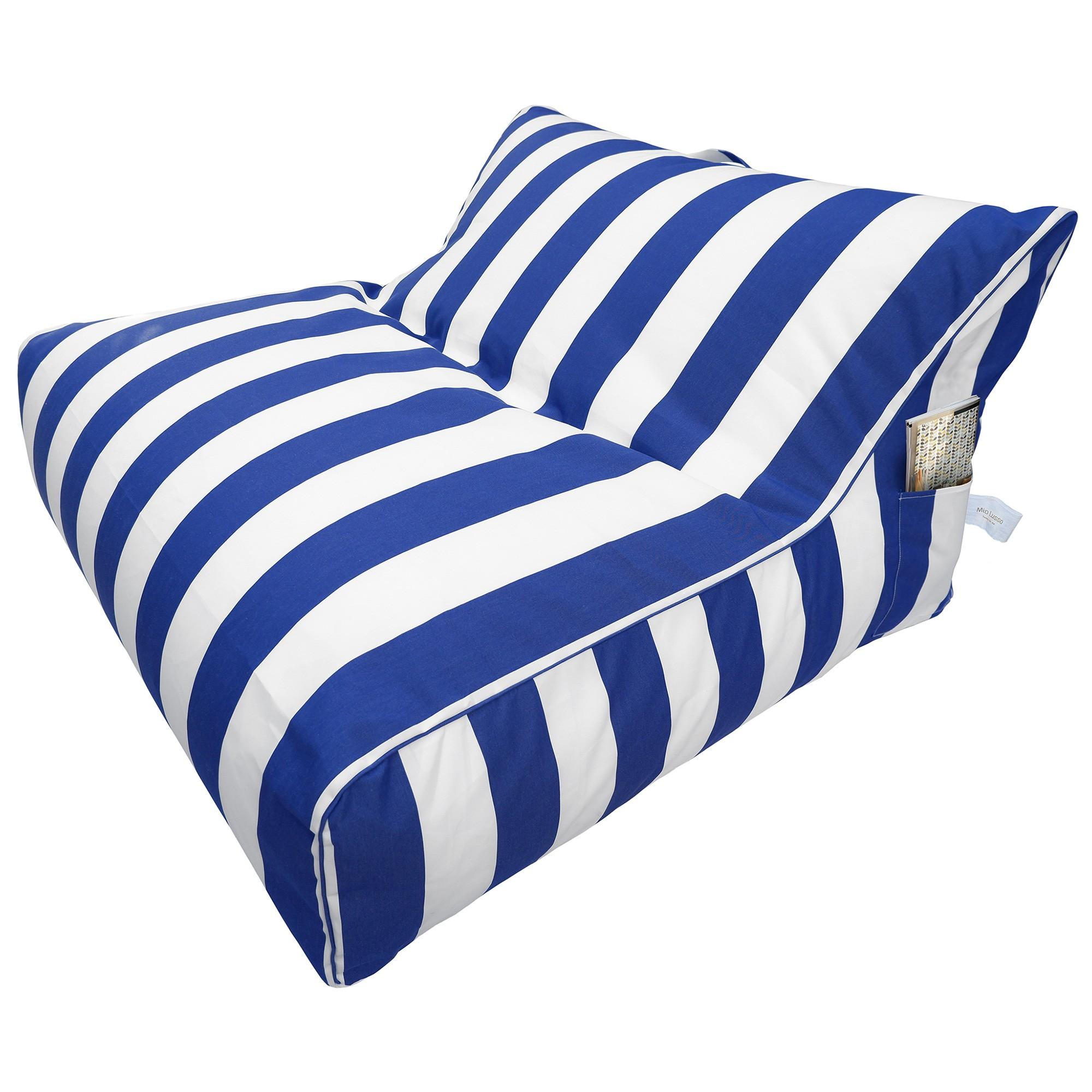 Maldives Fabric Indoor / Outdoor Bean Bag Cover, Blue Stripe