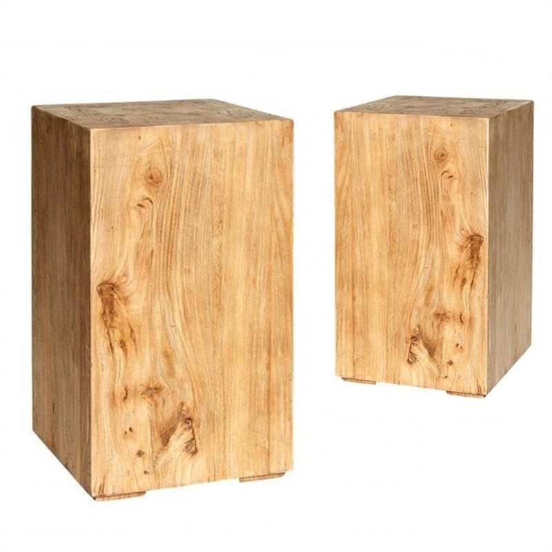 Set of 2 Dashwood Solid Elm Timber 50cm Square Stools / Side Tables