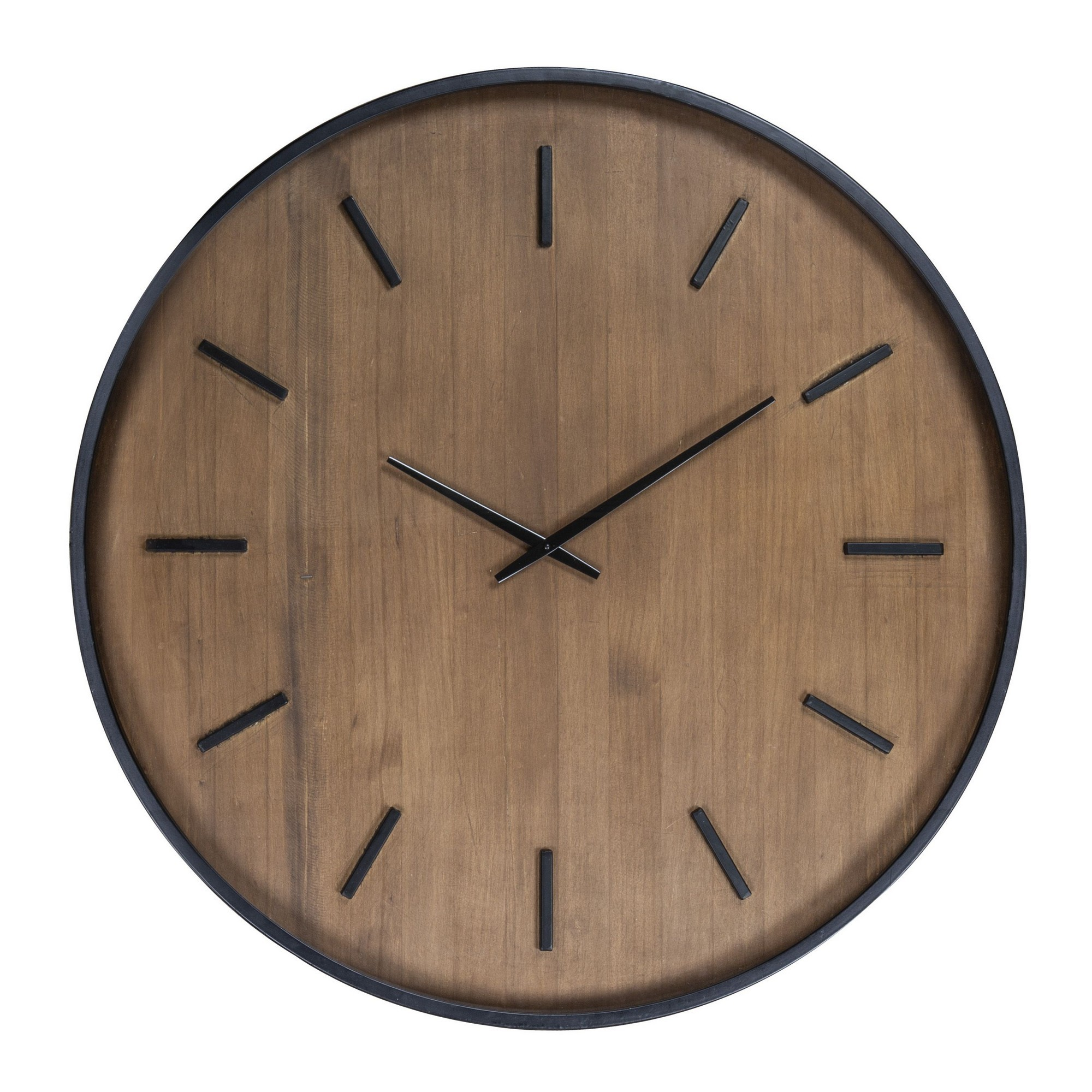 Duke Metal Framed Pine Timber Round Wall Clock, 80cm