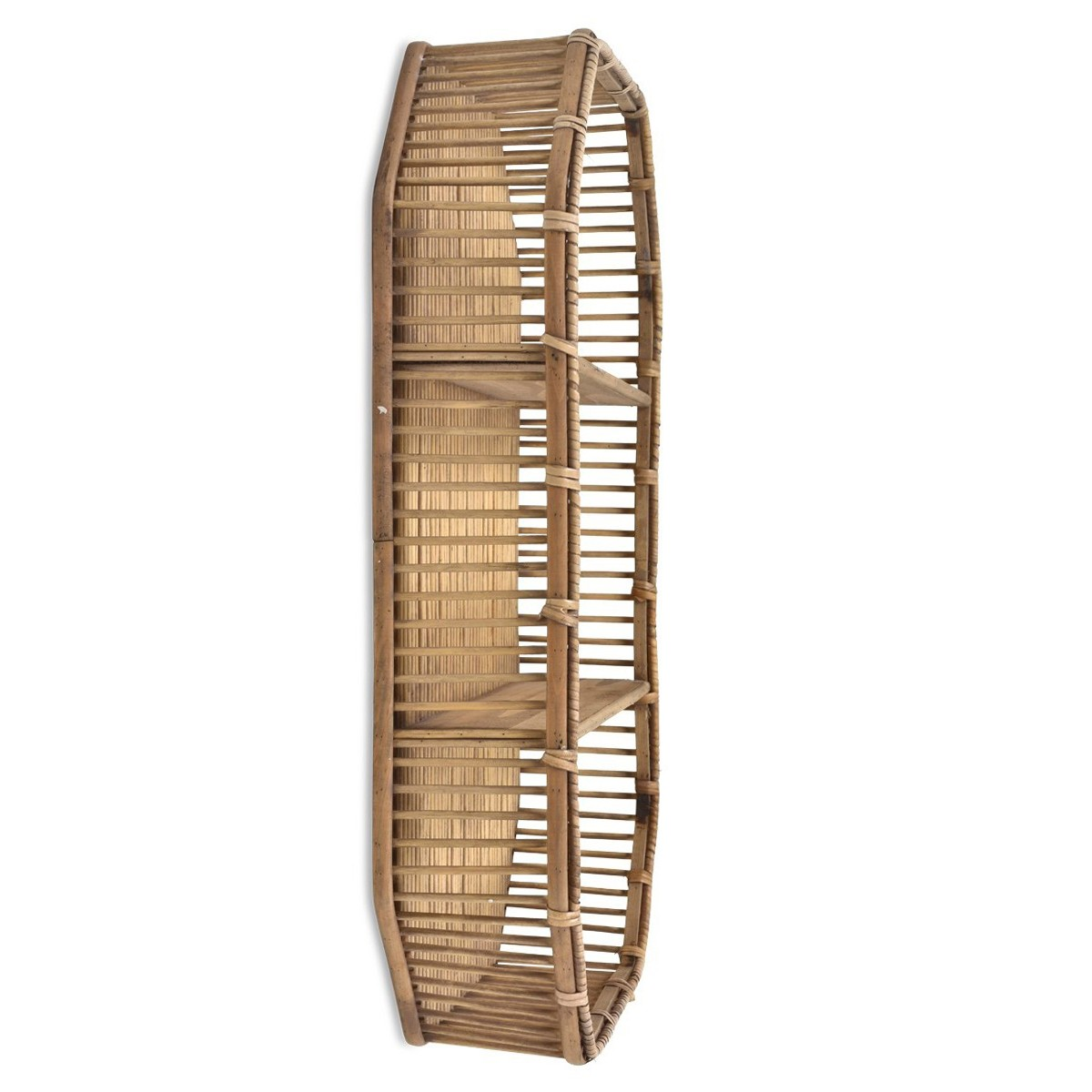 Royena Bamboo Rattan Wall Shelf, Octagon