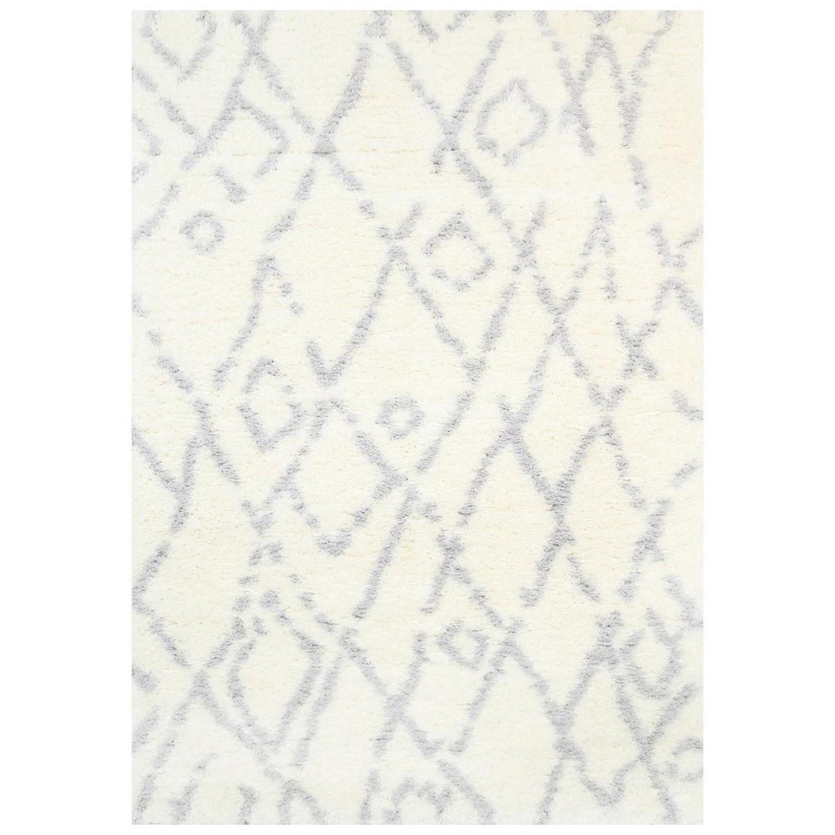 Moroccan Fes Super Soft Shaggy Rug, 160x230cm, Cream/Silver