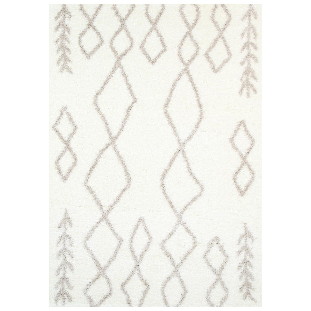 Moroccan Tribal Super Soft Shaggy Rug, 160x230cm, Cream/Beige