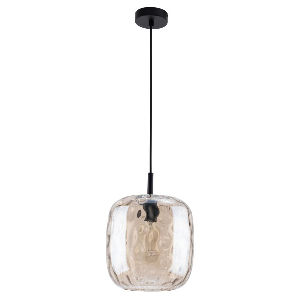 Greta Dimpled Glass Pendant Light, Amber