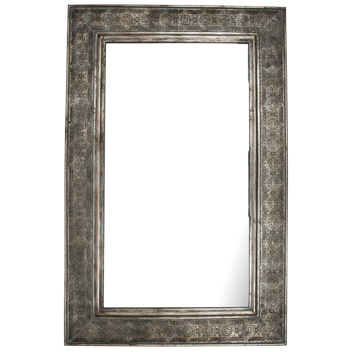 Miers Cutout Metal Frame Rectangular Wall Mirror, 123cm, Patina Silver