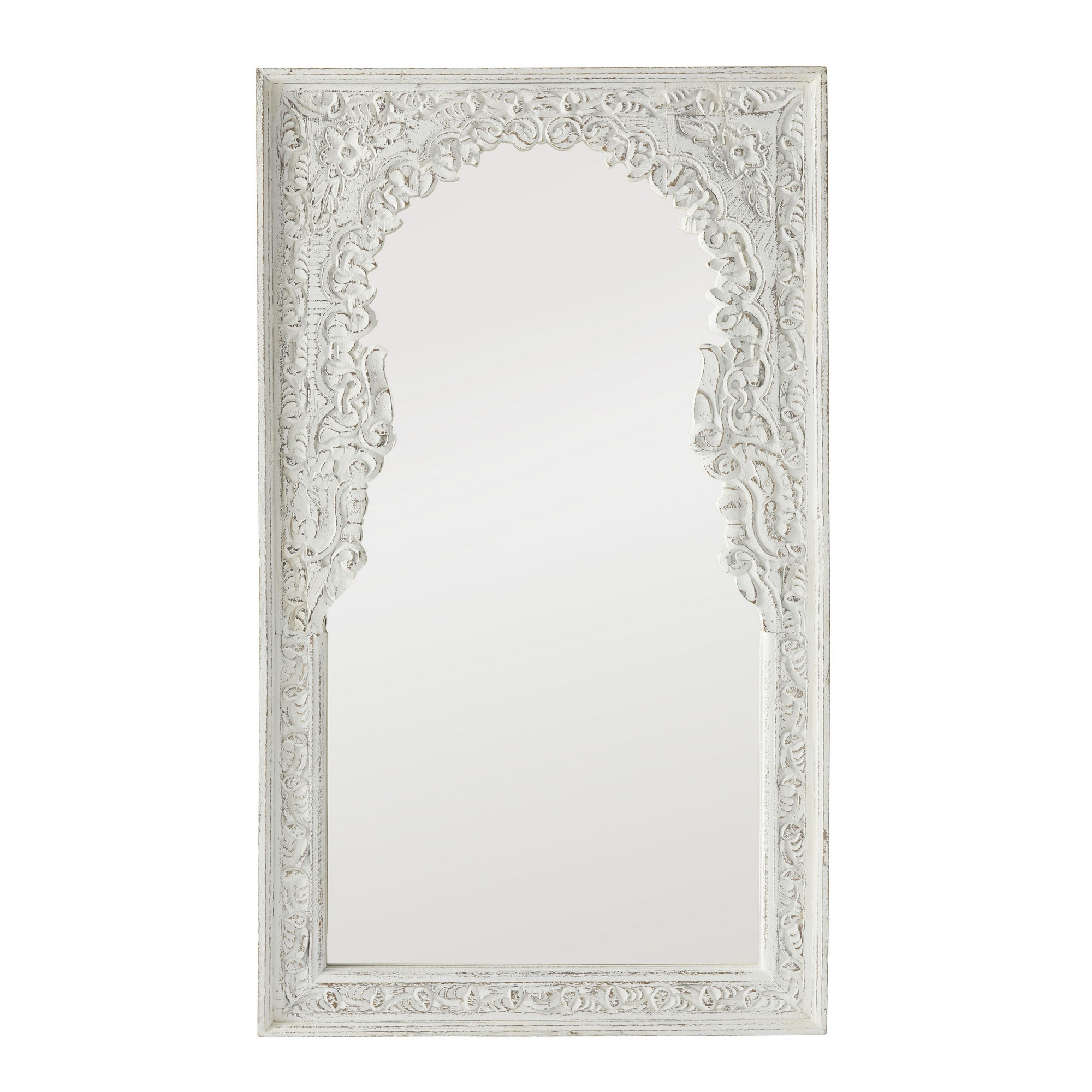 Rathi Carved Mango Wood Frame Wall Mirror, 121cm