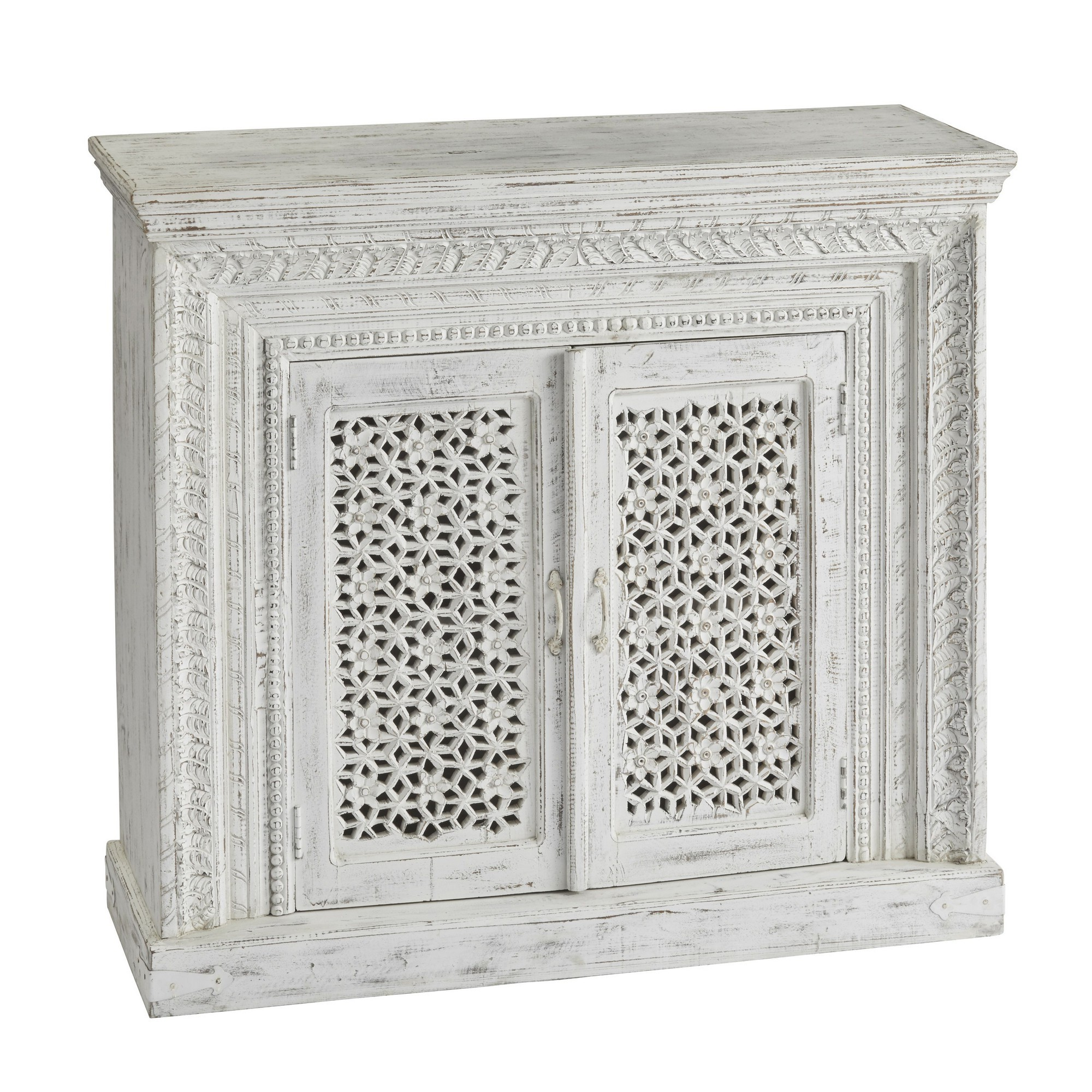 Amabala Carved Mango Wood 2 Door Cabinet