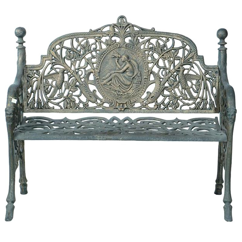 Nouveau Cast Iron 2 Seater Garden Bench, Army Green