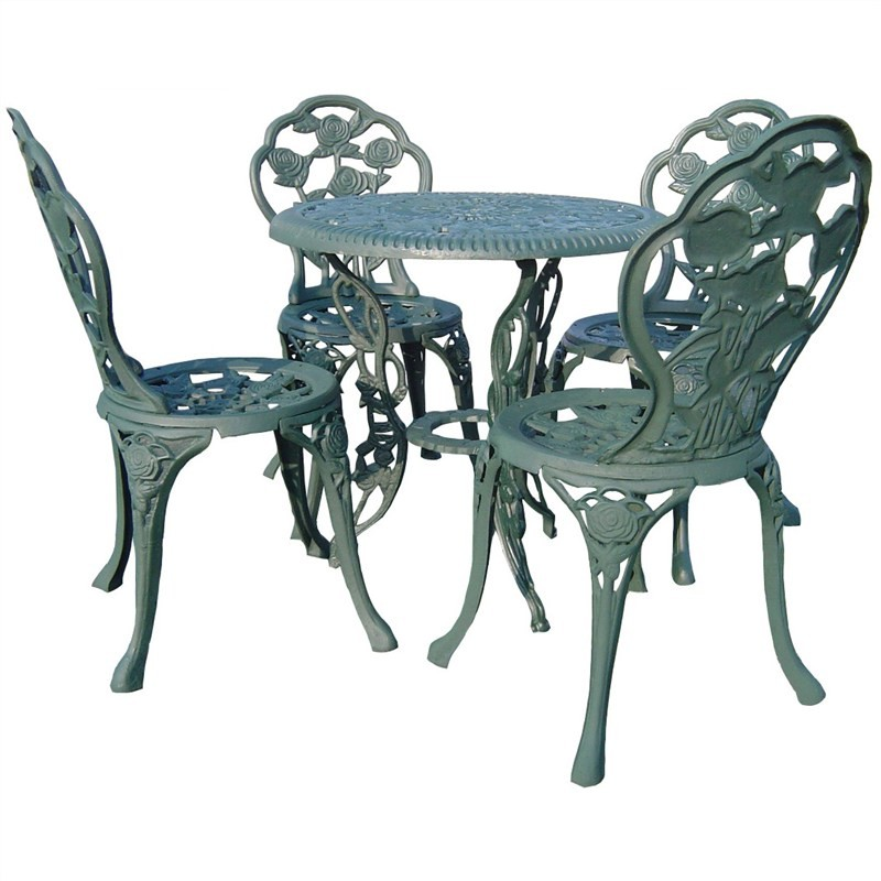 Rose Garden 5 Piece Cast Iron Outdoor Table Set - Verdigris