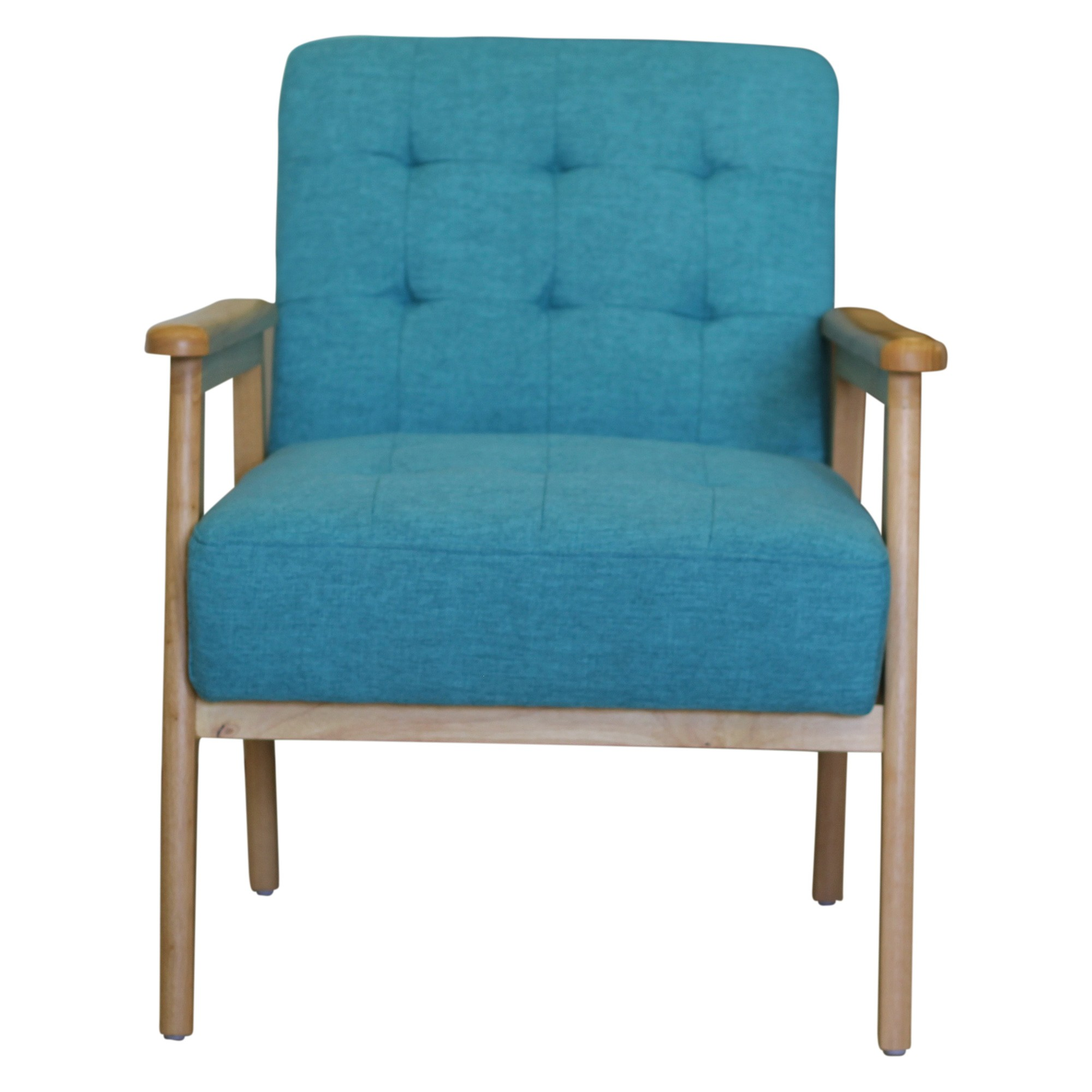 Louisville Timber & Fabric Lounge Armchair, Teal