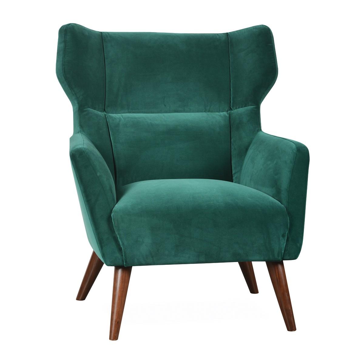 Alexa Commercial Grade Velvet Fabric Wingback Armchair, Jade