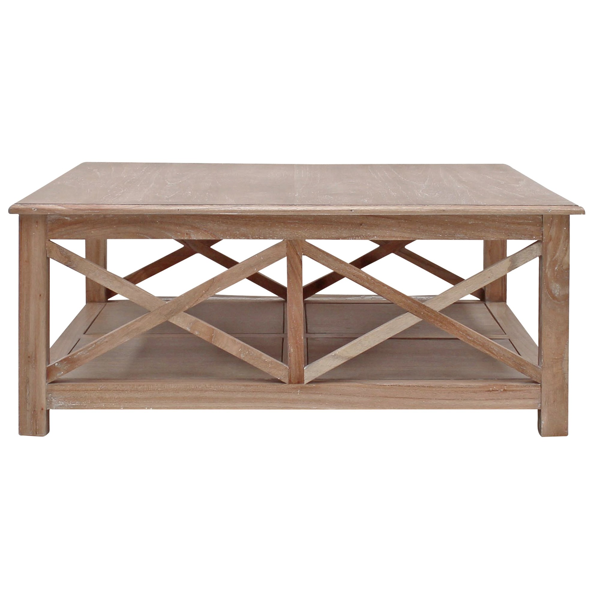 Belley Hand Crafted Mindi Wood Coffee Table with Shelf, 110cm, Weathered Oak