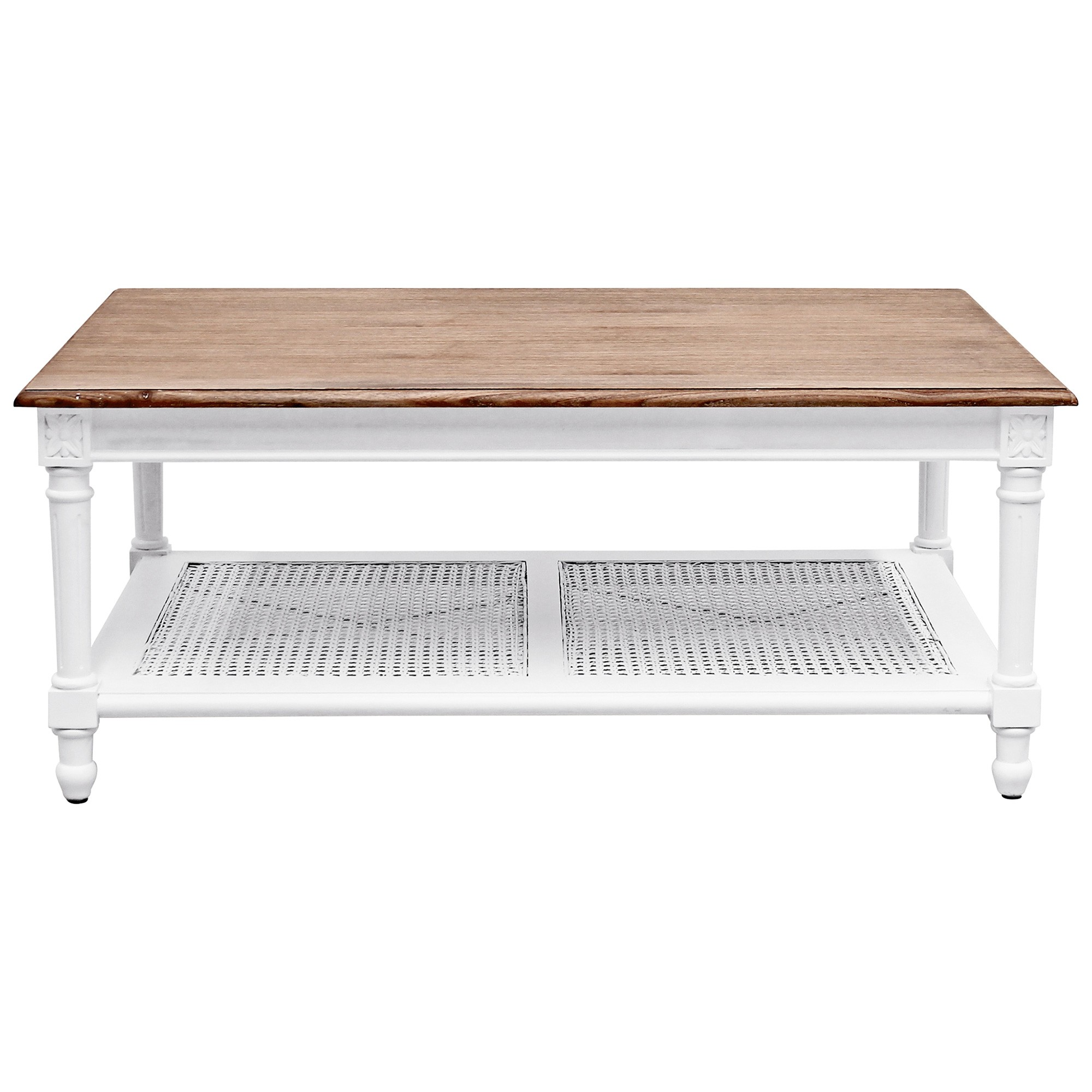 Lapalisse Handcrafted Mindi Wood Coffee Table, 110cm, White / Weathered Oak