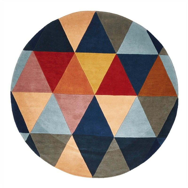 Matrix Triangles Hand Tufted Wool Round Rug, 200cm