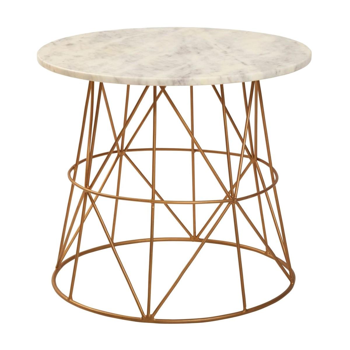 Klein Marble Topped Iron Round Side Table