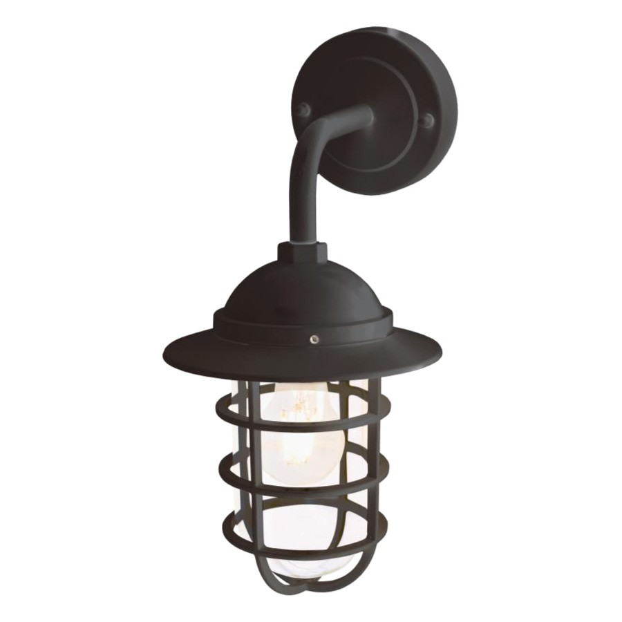 Walker IP44 Metal Outdoor Bunker Wall Light, Black