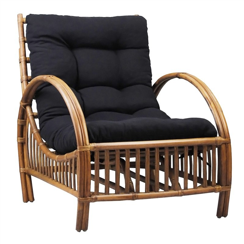 Sanibel Rattan Armchair with Cushion - Tobacco/Charcoal