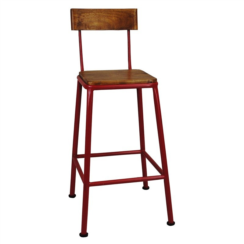 Hunston Metal Counter Chair with Timber Seat, Red