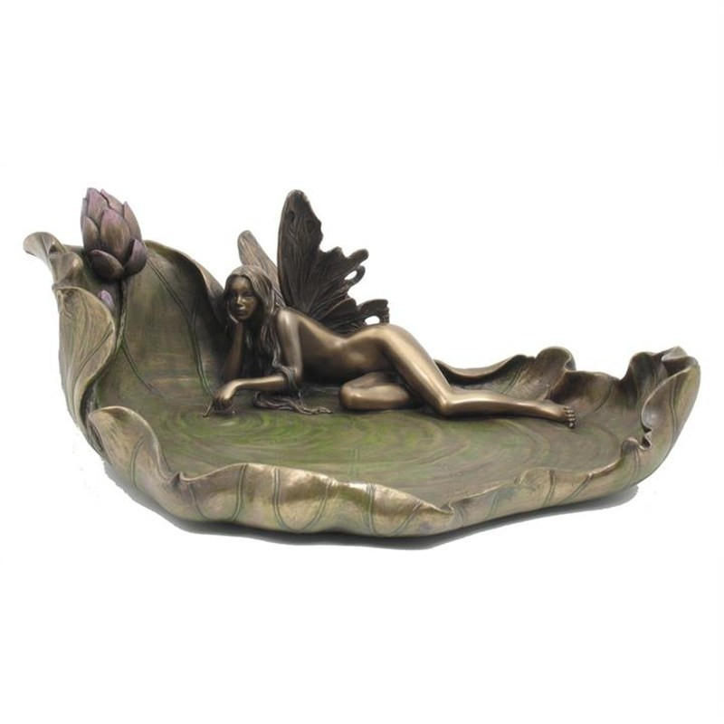 Veronese Cold Cast Bronze Coated Fairy Touching Water Jewellery Tray