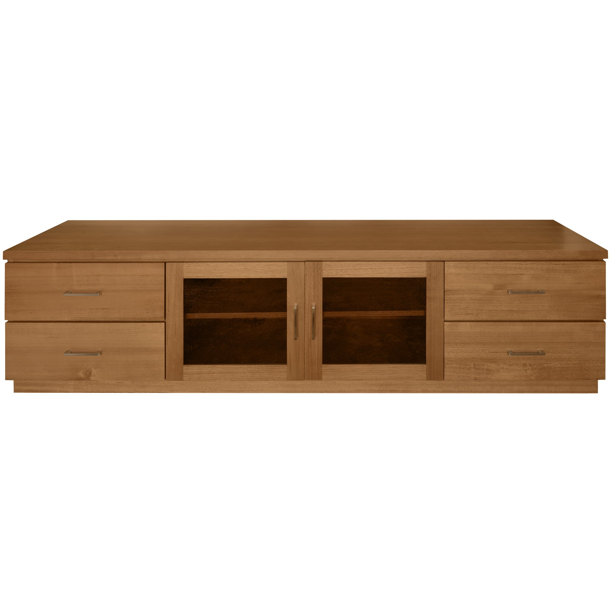 Moselia Tasmanian Oak Timber 2 Door 4 Drawer TV Unit, 200cm, New English Oak