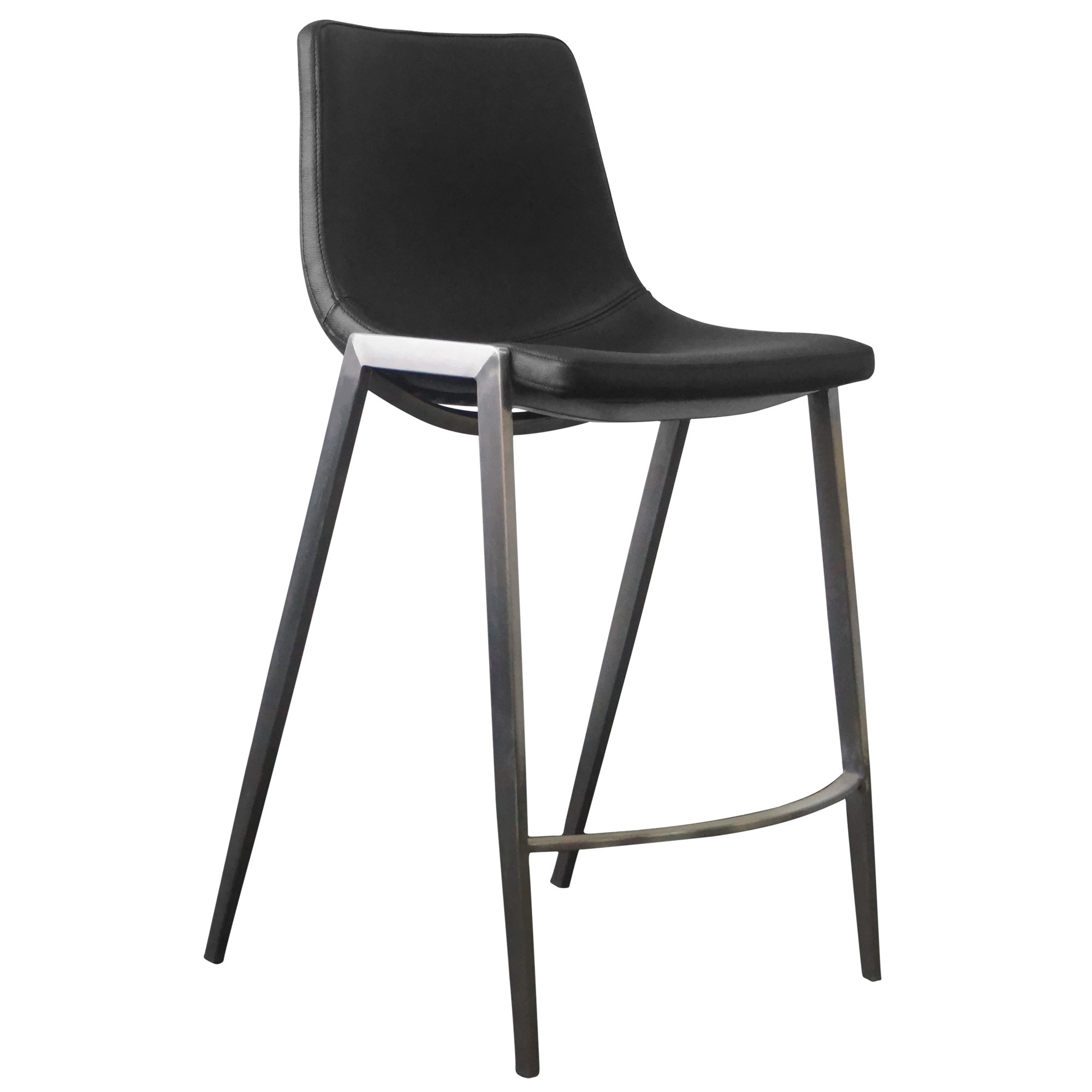 Nadia PU Leather Counter Stool, Black / Brushed Stainless Steel