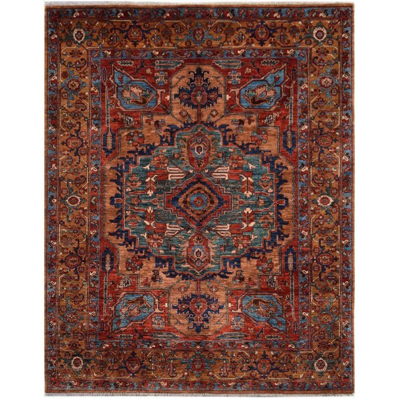 One of A Kind Mila Hand Knotted Wool Heriz Rug, 304x248cm