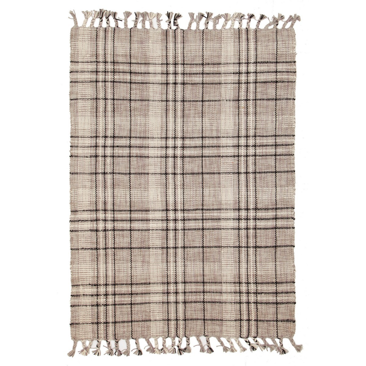Nordic Lattice Cotton Rug, 225x155cm