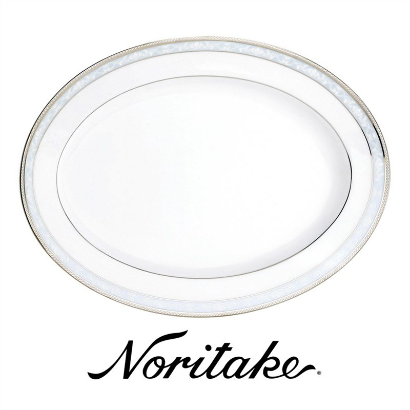 Noritake Hampshire Platinum Fine China Oval Platter