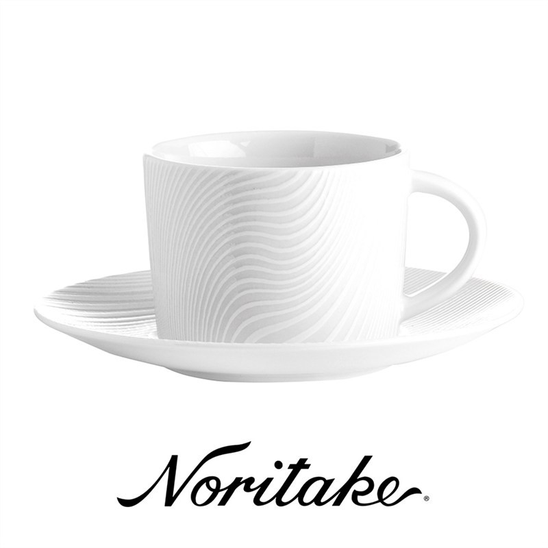 Noritake WoW Dune Set of 4 Fine China Cups & Saucers