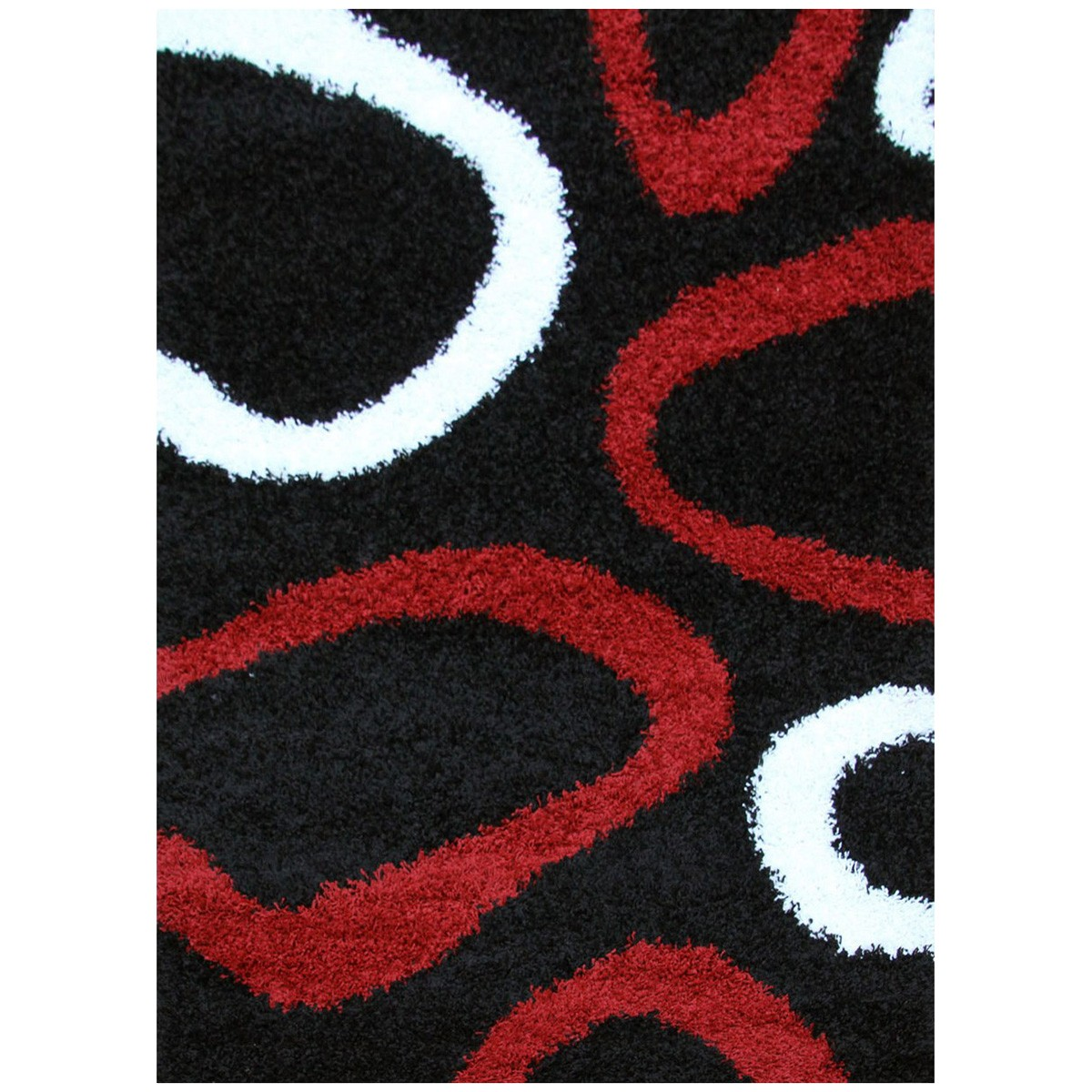 Notes Hoops Turkish Made Shag Rug, 290x200cm, Black / Red