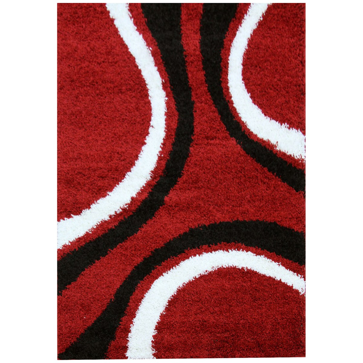 Notes Urban Curves I Turkish Made Shag Rug, 150x80cm, Red / Black