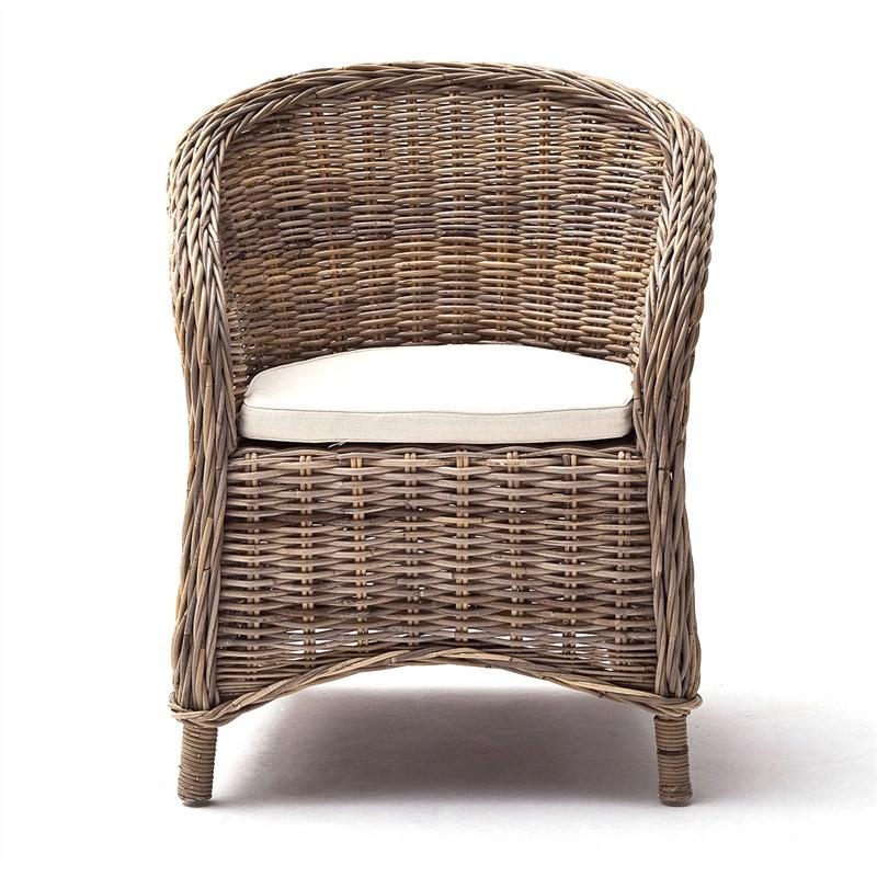 Beaymont Set of 2 Kubu Rattan Armchairs with Cushions
