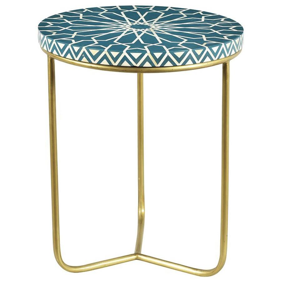 Jasmin Bone Inlaid Top Round Side Table