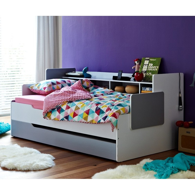 Phoenix Captain Bed, Single, White / Grey