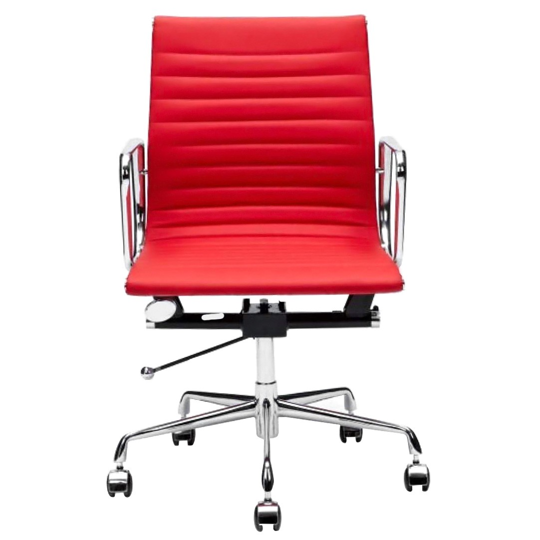 Replica Eames Aluminium Group Management Chair, Premium Leather, Red