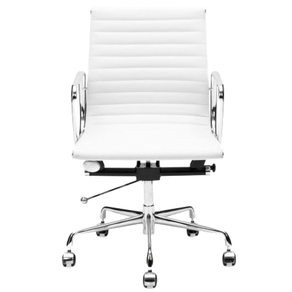 Replica Eames Aluminium Group Management Chair, Premium Leather, White
