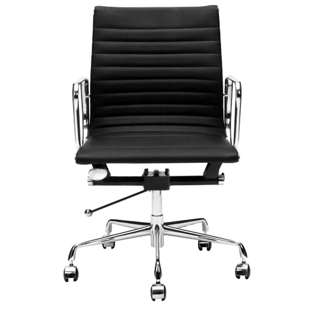 Replica Eames Aluminium Group Management Chair, PU Leather, Black