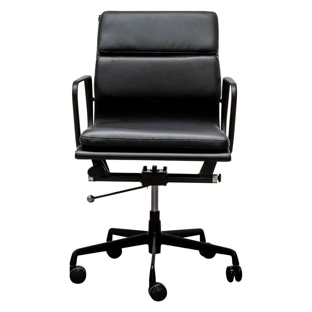 Replica Eames PU Leather Soft Pad Office Chair, Low Back, Black