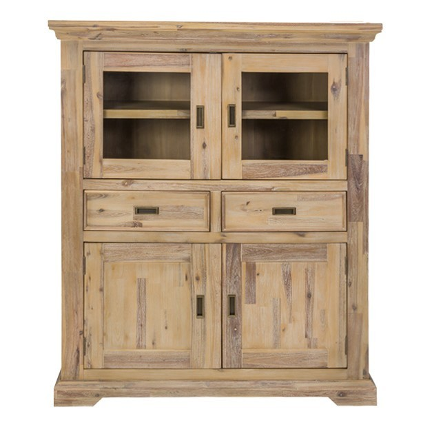 Hampus Acacia Timber 4 Door 2 Drawer Highboard, 120cm