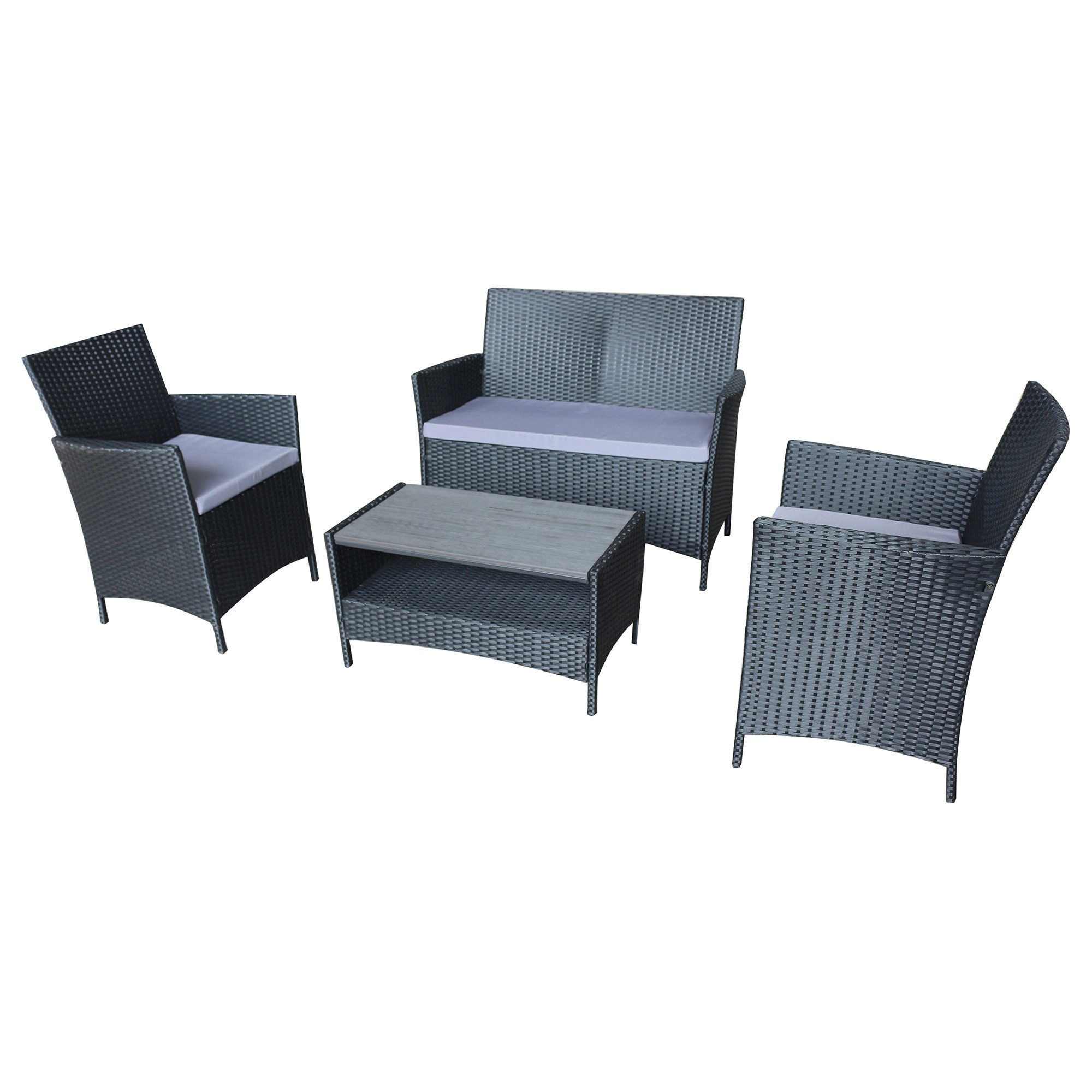 Ravello 4 Piece Outdoor Wicker Lounge Set, Black